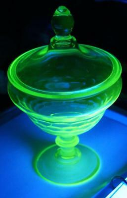 """Vintage Vaseline Glass Candy Dish 8.5"""" tall with lid Fenton ? MINT Condition"""