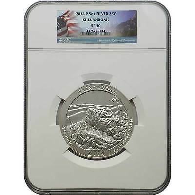 2014 P Shenandoah NGC SP70 America The Beautiful 5 oz Silver Coin ( Flag Label )