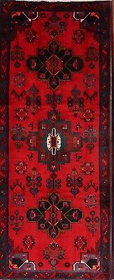 Excellent Geometric Hand Knotted Runner 4x10 Hamadan Persian Oriental Rug Wool