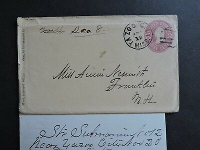 1866 Yazoo City Ms Cover +Ship Letter Submarine #12 ! Signed Nesmith Civil War !