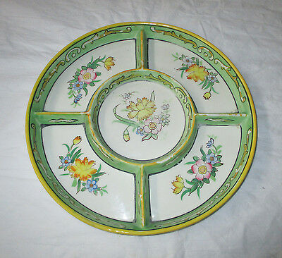 Moriyama Mori-machi Late 1920s Hand Painted Divided Serving Plate Spring Flowers