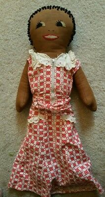 """Vintage 18"""" BLACK Americana cloth doll embroidered knotted hair 1930s OLD DRESS"""