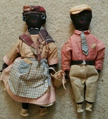 """2 Vintage 1930s TRULY INCREDIBLE DETAILED BLACK AMERICANA COUPLE CLOTH DOLLS 12"""""""