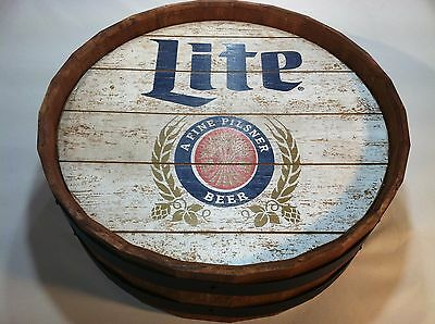Collectible Advertising Miller Lite Brewing Co. Beer Barrel Pub Sign 21 1/4""