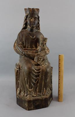 Lrg Antique 19thC Carved Wood, Spanish Colonial Santos Sculpture Jesus & Madonna