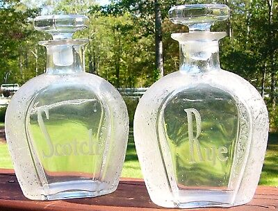Matching Pair Of Blown Back Bar Bottles Etched & Frosted Scotch & Rye
