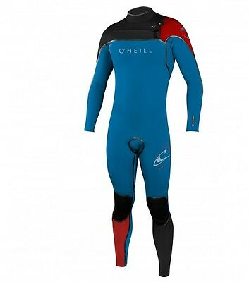 O'NEILL Youth 4/3 PSYCHO 1 Chest-Zip Wetsuit - BrtBlu/Blk/NeonRed - Size 8 - NWT