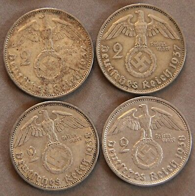 Four Coin WWII Germany Two Reichsmark Silver coins 1937-A/D & 1938-A/D Circ