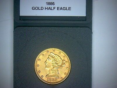 1885 $5.00 Gold Half Eagle In Plastic Removeable Holder