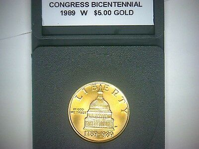 1989 W $5.00 Gold Congress Bicentennial In Plastic Removeable Holder