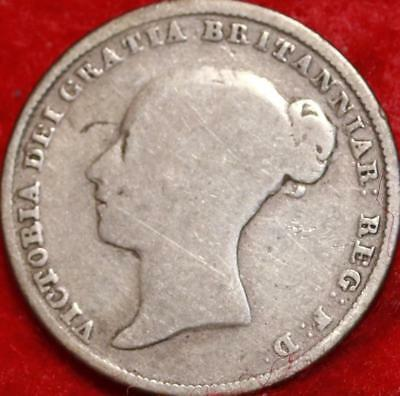 1840 Great Britain 6 Pence Silver Foreign Coin Free S/H
