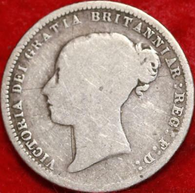 1870 Great Britain 6 Pence Silver Foreign Coin Free S/H