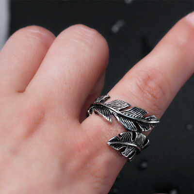 Vintage Men Woman Antique Silver Stainless Steel Feather Ring Band Jewelry Gift