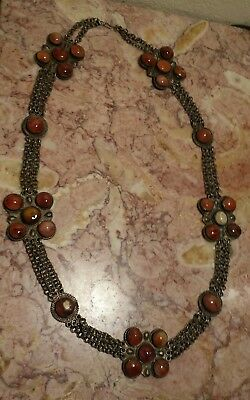 Vintage Ladies Brass Chain Belt Necklace-Medallions inset w/actual Amber Stones