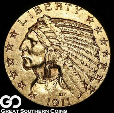 1911 Half Eagle, $5 Gold Indian, Brilliant Uncirculated++ ** Free Shipping!