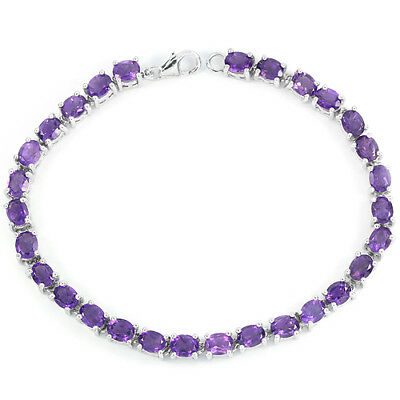 Natural 30Pcs. Aaa Purple Amethyst Round Sterling 925 Silver Bracelet 7.5 Inch.