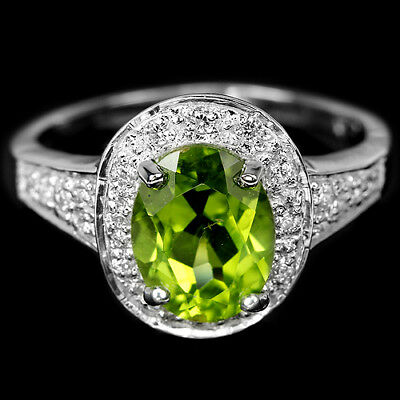 Natural 9X7 Mm. Aaa Green Peridot & White Cz Sterling 925 Silver Ring Size 6.75