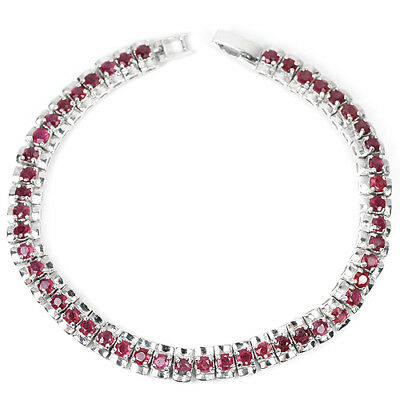 Alluring Genuine Aaa Pink Red Ruby Round Sterling 925 Silver Bracelet 7.5