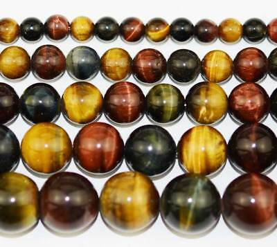 6MM 8MM 10MM 12MM Multicolor Natural Tiger's Eye Round Gemstone Beads 15''
