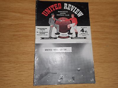 MANCHESTER UNITED  v  WEST BROMWICH ALBION  1957/8 F A CUP MUNICH DISASTER YEAR