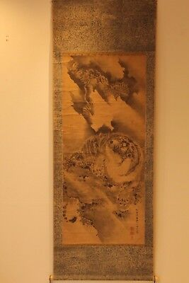 """Japanese Edo Hanging Scroll""""dragon&tiger龍虎"""" Hand Painted W/signed Oct194"""