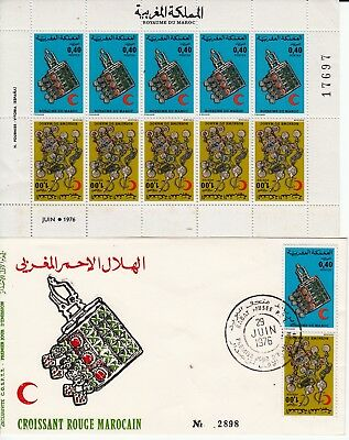 MAROC 1976 - CROISSANT ROUGE - FEUILLE 5 paires Timbres N°762A + ENVELOPPE FDC