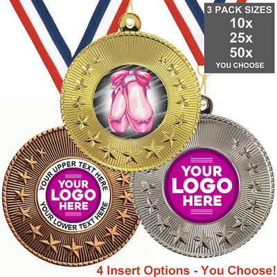 BALLET DANCE MEDALS 50mm, PACK OF 10, RIBBONS, INSERTS or OWN LOGO & TEXT