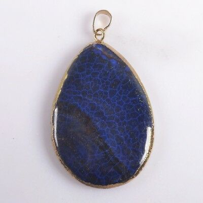 Blue Fire Agate Pendant Bead Gold Plated T047413