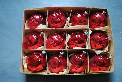 Old german box with 12 devil head glass ornaments