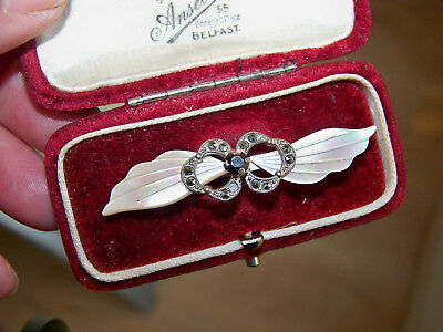 Vintage Jewellery Carved Mother Of Pearl Shell & Marcasite Bow Bar Brooch Pin