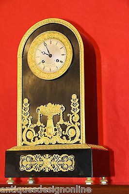 Rare French Empire ormolu ebony antique clock 1820 original gilt working well