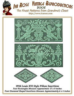 1916 Filet Lace Louis XVI Inspired Pillow Insertions