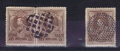 D4830 THAILAND 1920 King Vajiravudh 3 st pair and single with special cancels