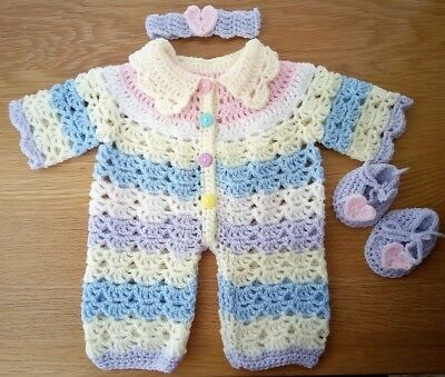"""Hand Knitted Crochet Dolls Clothes - All In One - 16""""/18"""" Doll, Reborn"""
