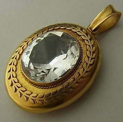 Stunning Antique Victorian 18Ct Gold & Topaz Locket Pendant