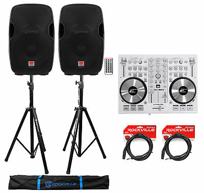 """DJ System Package: (2) 15"""" Powered Speakers+Controller+Stands+Cables+Carry Bag"""