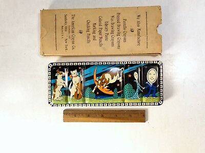 Great!1940s Nursery Rhyme Tin Litho Childs Paint Set,The Cow,Cat,Moon,Spoon Art