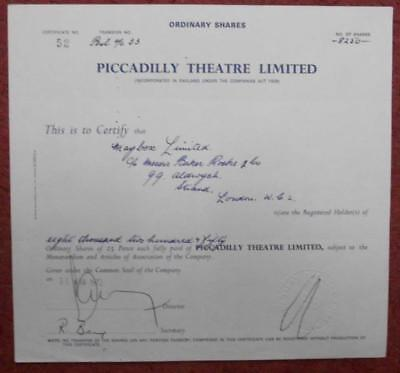 31474 GB 1972 Piccadilly Theatre 8250 Ordinary shares certificate