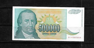 Yugoslavia #131 1993 500000 Dinara Old Vf Used Banknote Bill Note Money