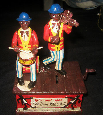"""Black Americana Spic and Span Musical Mechanical Bank Joplin """"THE ENTERTAINER"""""""