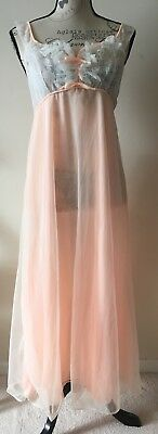 Double nylon peach Nightdress Vintage   size 36 inch bust