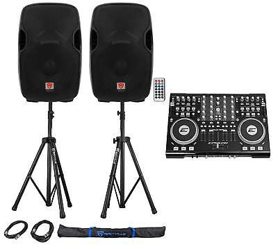 """DJ System Package: Controller, Powered 12"""" Speakers, Stands, Cables, Carry Bag"""