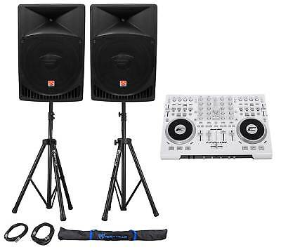 """DJ System Package w/Controller, Active 12"""" Speakers, Stands, Cables, Carry Bag"""