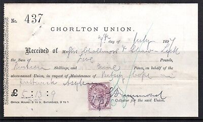 1897 GB QV 1d Lilac Fiscally used Receipt for Asylum Maintenance Payment