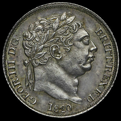 1820 George III Milled Silver Sixpence, Scarce, A/UNC