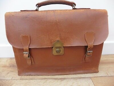 Super vintage 1960's tan brown leather English made briefcase, good used condtn