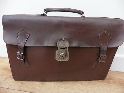 Super vintage 1960's brown leather English made briefcase, good used condition