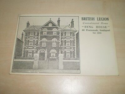 "1920s Postcard Of Southport British Legion Convalescent Home ""Byng House"""