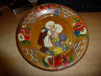 Russian Wooden Handpainted Romance Scene From Dp Camp In Passau Germany 1947