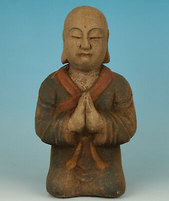 Exquisite Chinese Old Wood Hand Carved Knees Buddha Monk Statue Figure